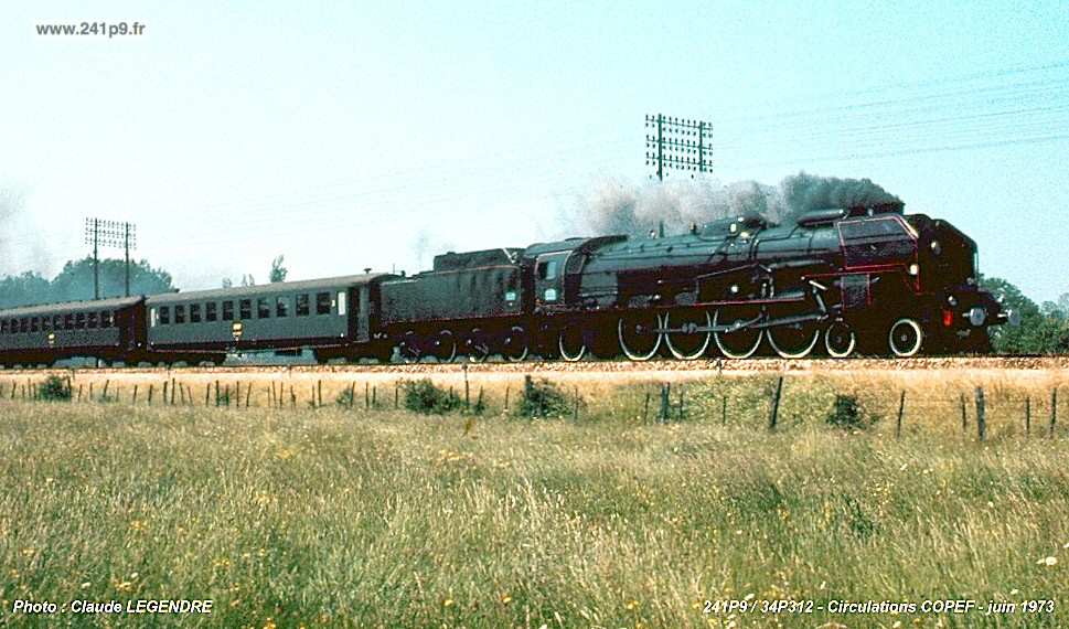 histo 241P9 1973 06 06 essai Copef 16 Legendre Historique 3   Le dernier train : le spécial COPEF de 1973