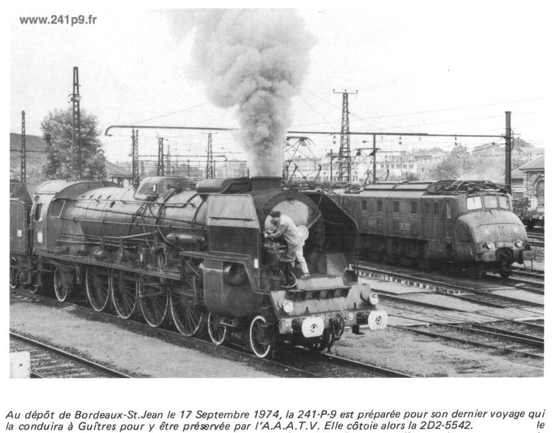 241P9 1974 09 17 Bordeaux 1 depot Historique 4   Transfert du Mans à Guîtres