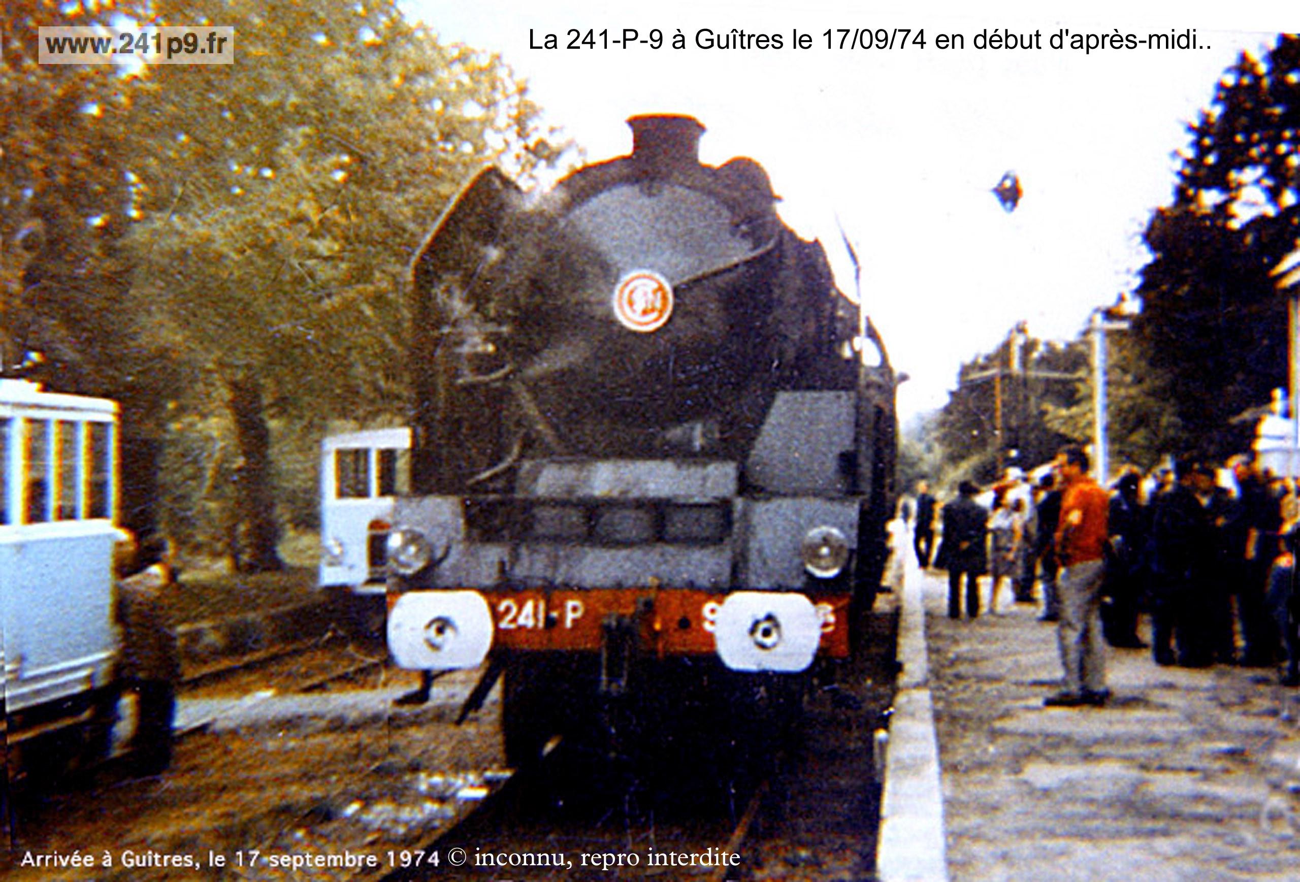 241P9 1974 09 17 Guitres arrivee Historique 4   Transfert du Mans à Guîtres